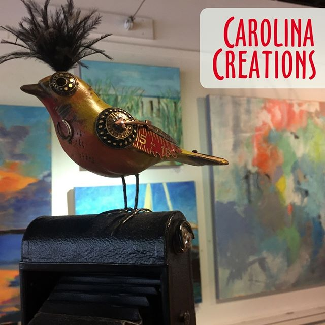 Come by our shop on Pollock street and check out these cool #steampunk #birds #CarolinaCreations