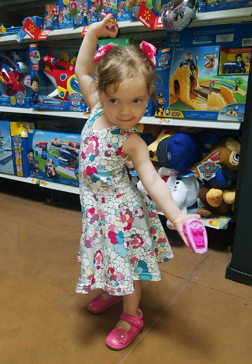 This is the pose I hit when in the store I find the toy Skye from Paw Patrol (shes my fav character of all! Her and Peppa pig)  Summer dress - @theMINIclassy Bow clips- Sweet Divas Hair (on Esty)