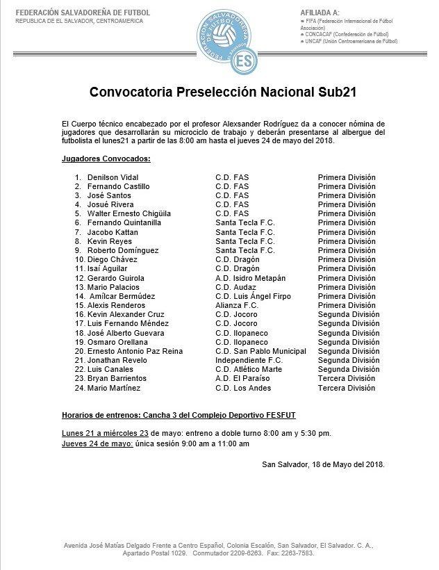 Sub-21: Preparacion a Los juegos deportivos centroamericanos y del caribe 2018. DdgIdB8UQAAFNgw