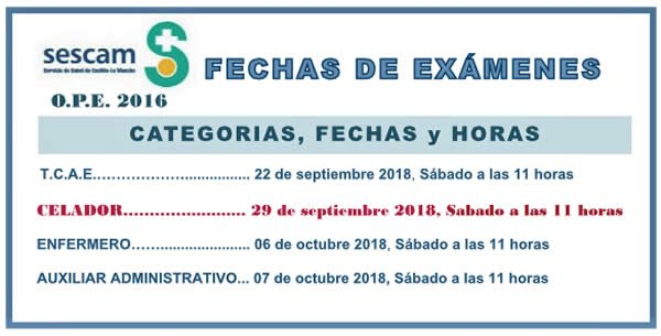 Calendario de Exámenes OPE 2016 SESCAM... DdgZQ2lX4AIb-g7