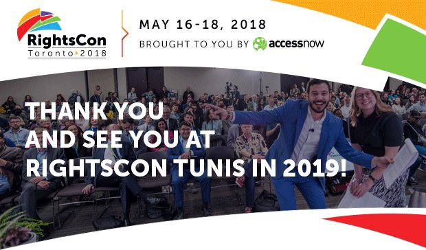 Thank you everyone who gave their all to make #RightsCon Toronto such a special experience. We can&#39;t wait to see you Tunis for RightsCon 2019! <br>http://pic.twitter.com/R3bhsRGtZZ