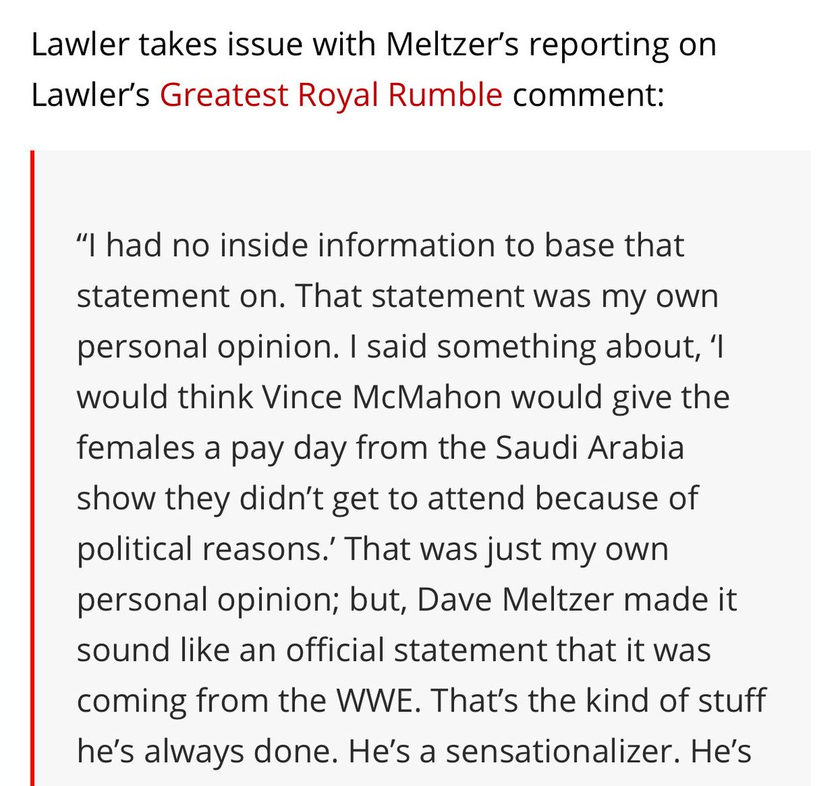 Odd of Jerry Lawler to call out Meltzer/wrestling sites for reporting what he said about women being paid for #WWEGRR - which he now claims was opinion and not factual - when his co-host sent out a press release to all these sites on what he said.  ( -  http:// bit.ly/2k9Tojf  &nbsp;  )<br>http://pic.twitter.com/KPgDbZV4jL