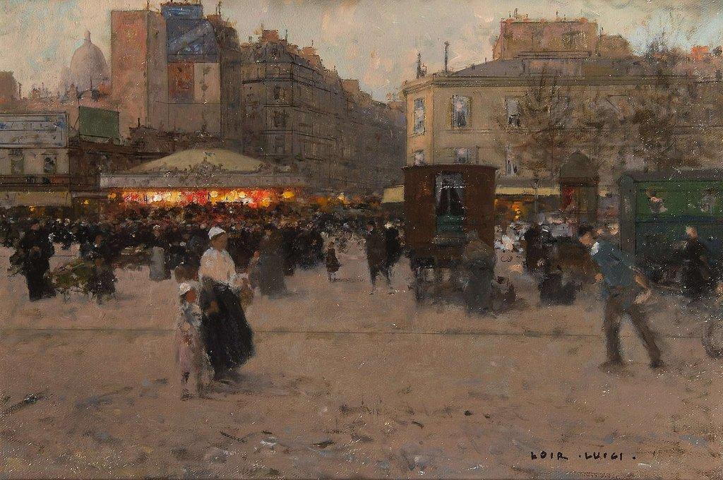 ルイジ・ロワール Luigi Loir (1845~1916)『Manège, Place du Delta』 https://t.co/GkXHR9ALAJ #印象派 #名画 #絵画