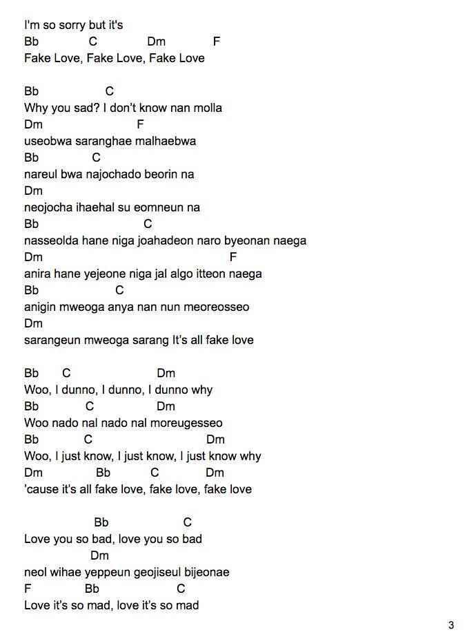Ladylauren On Twitter Bts Fake Love Ukulele Tutorial Romanized