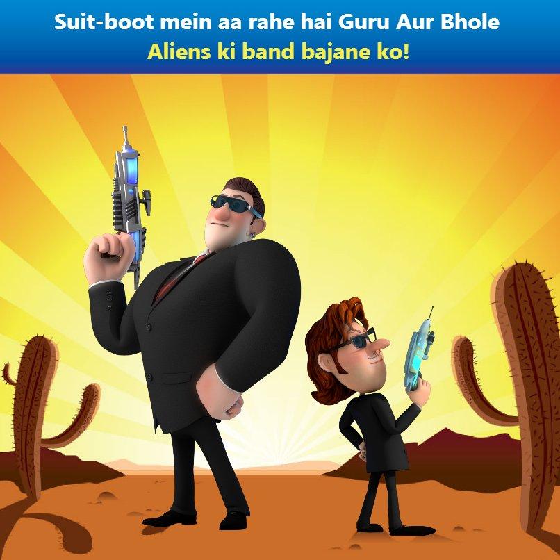 Guru and Bhole as Alien Busters (2018) 720p  HDRip  [Hindi+ Tamil + Telugu]  700MB