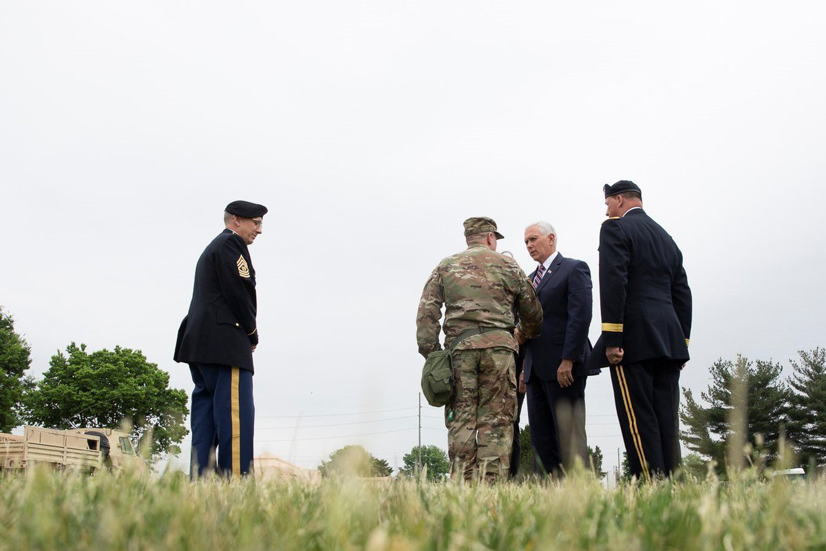 Yesterday, Karen & I visited the @38thID of the @INGuardsman in Indianapolis. I gave them the thanks of their Commander-in-Chief & of the American people. I know across the Nation, Americans will take time this weekend to thank those serving in our Armed Forces #ArmedForcesDay
