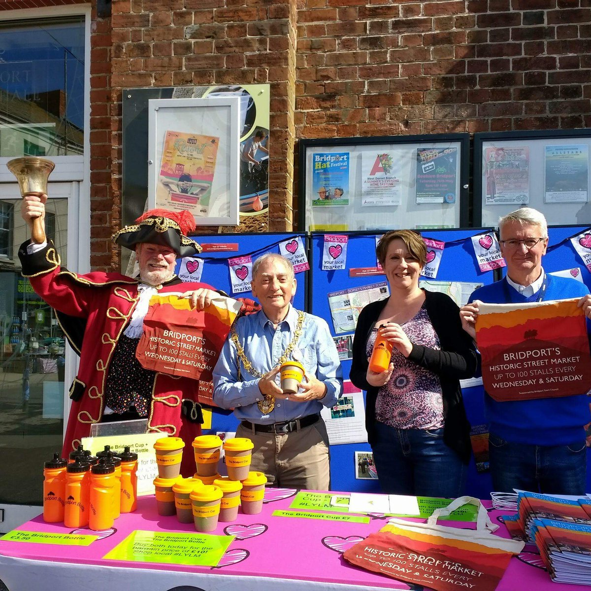 Our new Mayor's first official engagement launching Love Your Local Market fortnight! #Bridport #Market #LYLM2018