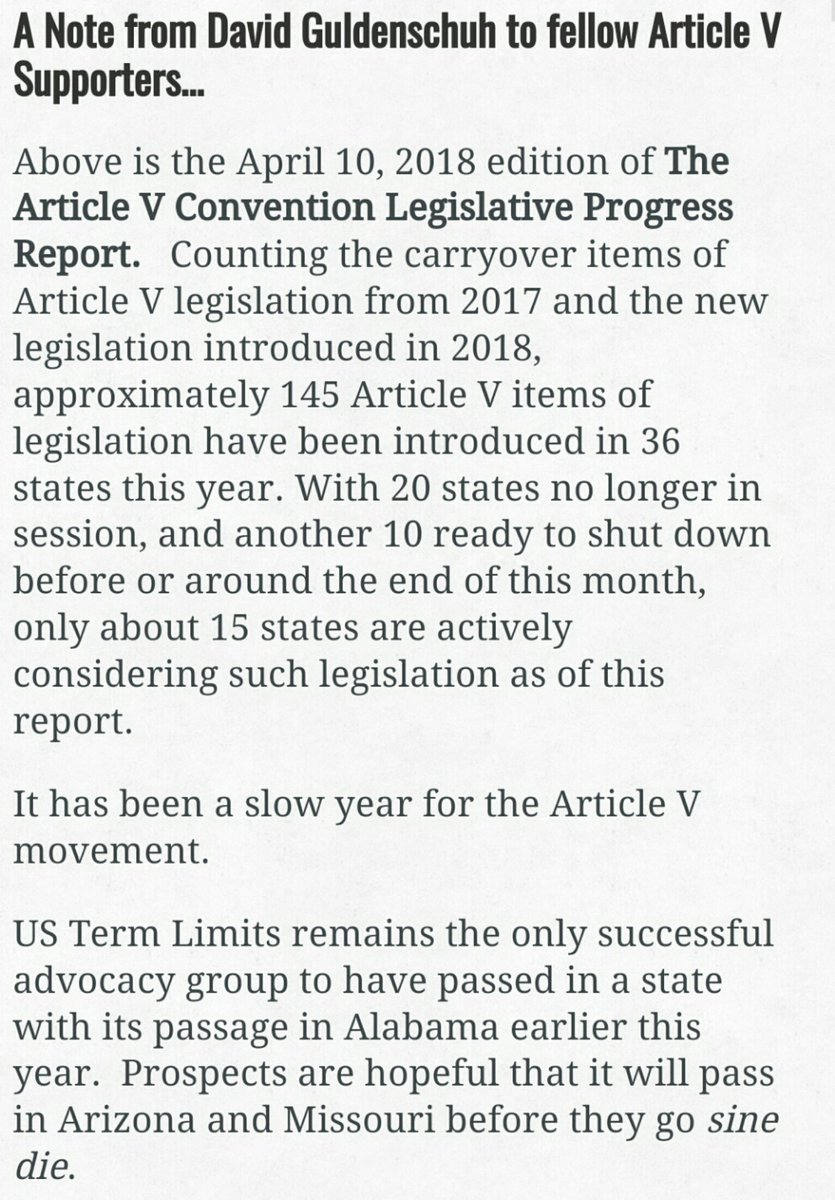 📣Article V supporters are mourning a bad year😊  👊Let me stress unequivocally that it has been a good year for #NoConCon Warriors!  Bc of Twitter & tirelessly spreading the word abt this stealth movement,we were able to stop it in almost every state that considered it this yr🍻