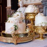 The wedding cake is to be served at the Reception. It was designed by Claire Ptak and features elderflower syrup made at The Queen's residence in Sandringham from the estate's own elderflower trees, as well as a light sponge cake uniquely formulated for the couple. #royalwedding