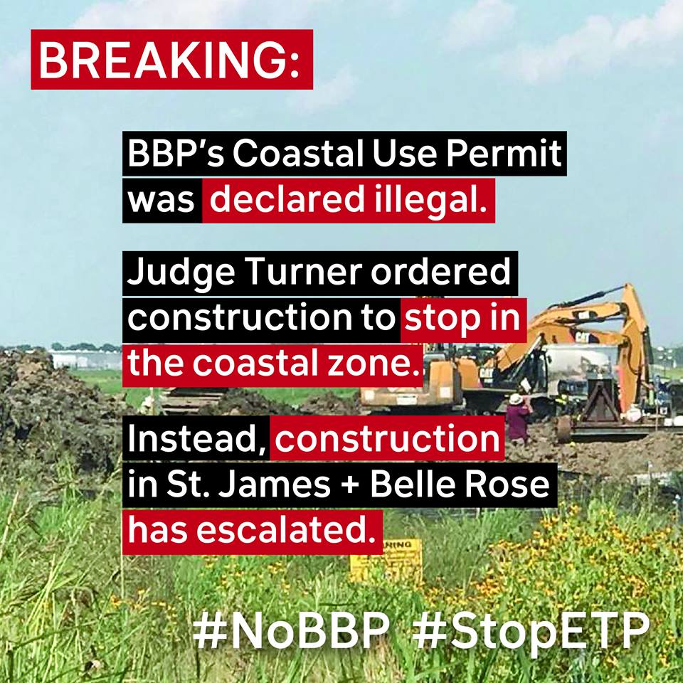 #BayouBridge construction continues in St. James and Belle Rose, despite the official order from District Judge Alvin Turner, Jr. to HALT ALL CONSTRUCTION in the coastal zone.