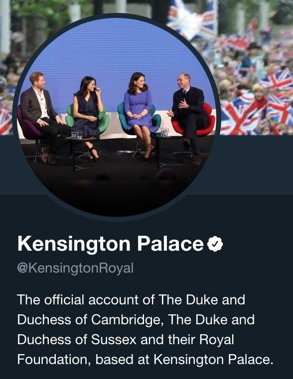 .@KensingtonRoyal updates its @Twitter bio to include the Duke & Duchess of Sussex for official communication. #RoyalWedding gma.abc/2rZzZpB