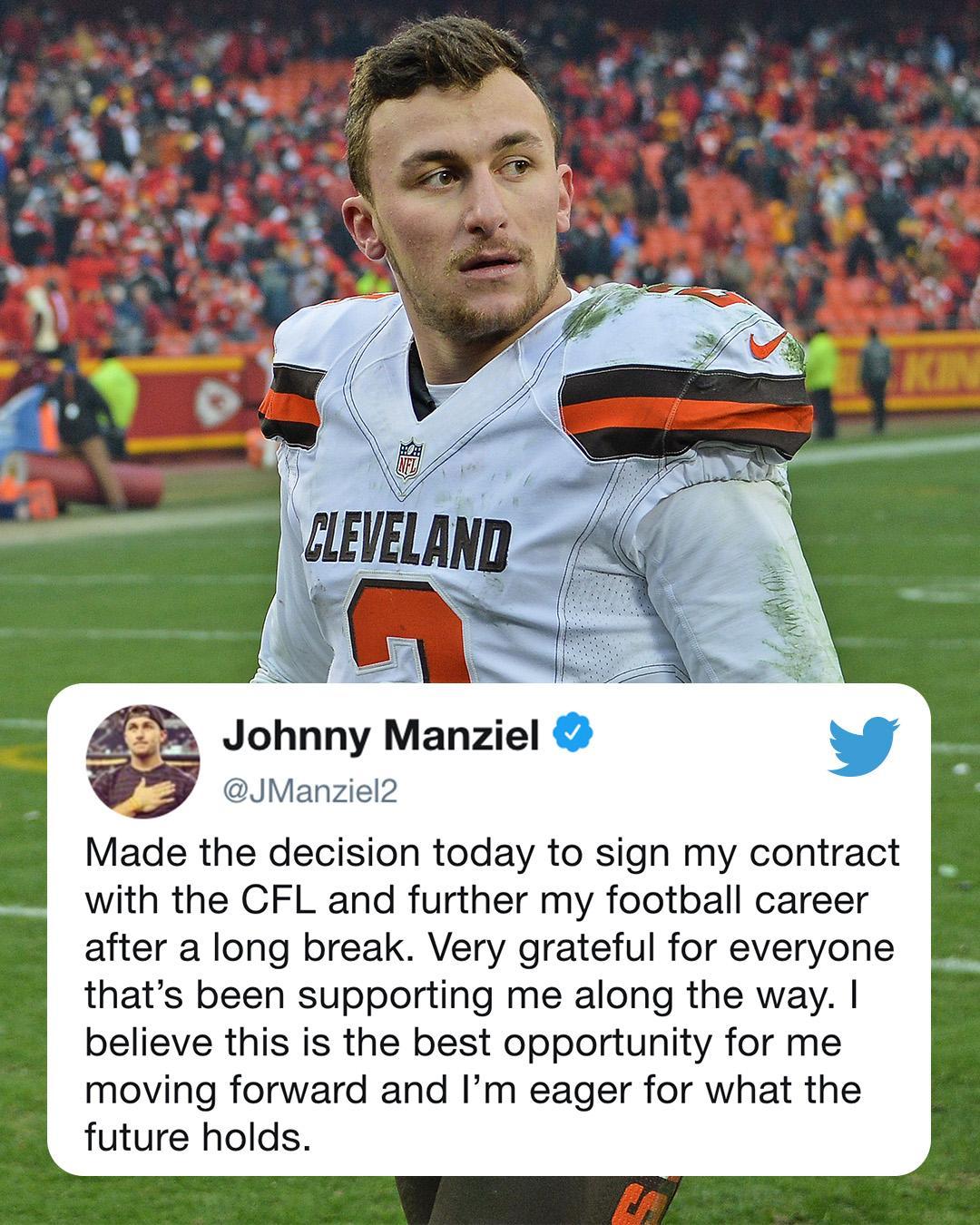 Johnny Manziel will continue his comeback with the CFL's Hamilton Tiger-Cats. https://t.co/6MVcUTNPxq
