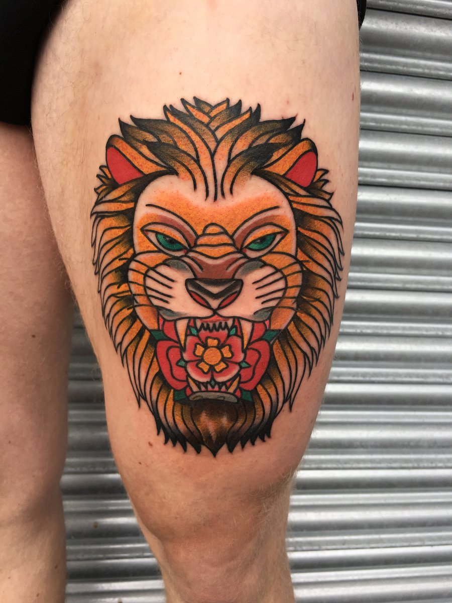 bba0b8c48 #lion by Nik @brierleytattoo! He would love to do more like this. Get in  touch! #arthousetattoo #ormskirktattoo #ormskirk #traditional #oldschool ...