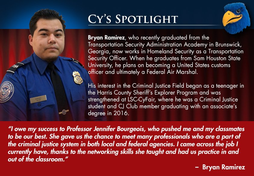 Homeland Security Degree >> Lone Star College Cyfair On Twitter Cy S Spotlight Bryan
