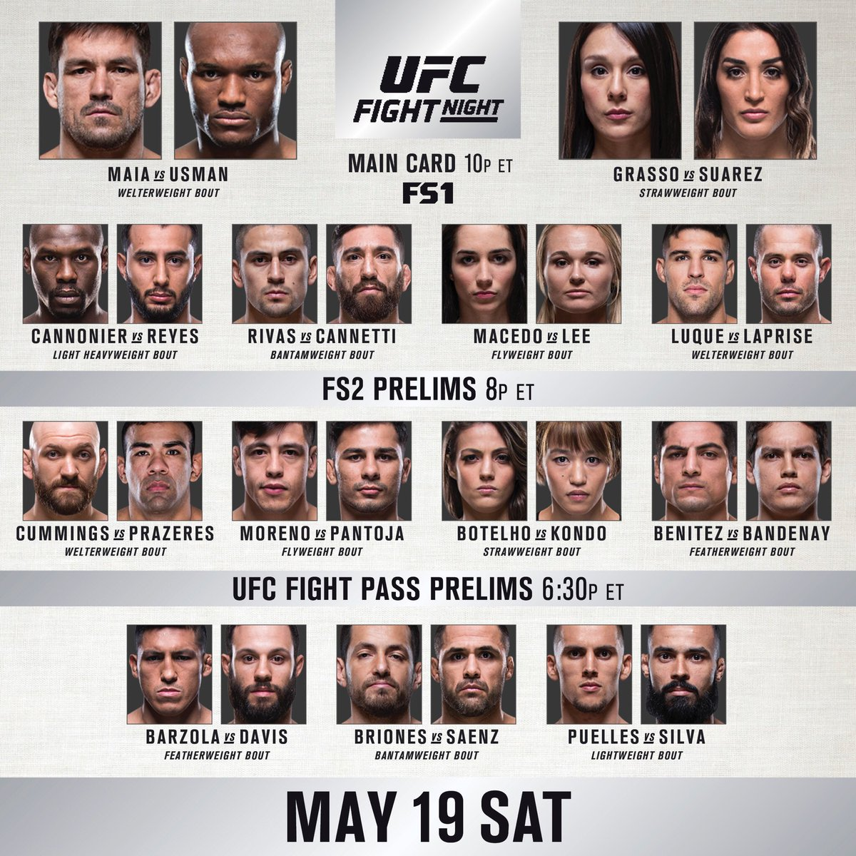 #UFCChile early prelims start NOW on @ufcfightpass!!!