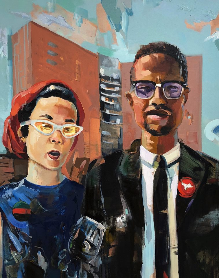 Today (May 19) is the birthday of both #MalcolmX and #YuriKochiyama. @FrankChi Chi commissioned the amazing  @ericuhlir to make their friendship come to life for me. Calling it &quot;American Gothic X,&quot;#APAHM  #Intersectionality #activism<br>http://pic.twitter.com/PMREkvqFCH