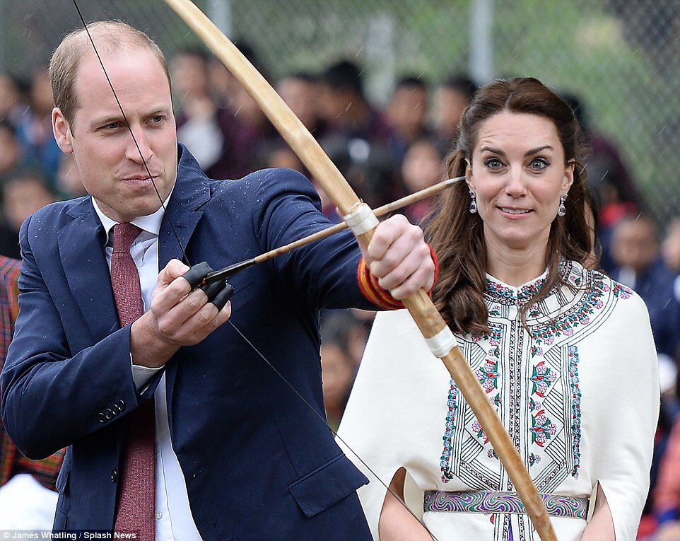 The #royalwedding party has got out of control now. William is so drunk he has taken one the bows and arrows from Windsor Castle and is doing his best Katniss Everdeen impression. My face says it all.