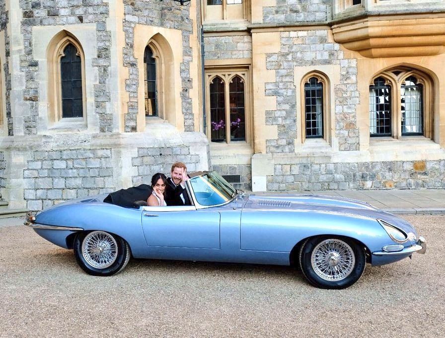 Image result for harry and meghan in E type Jaguar