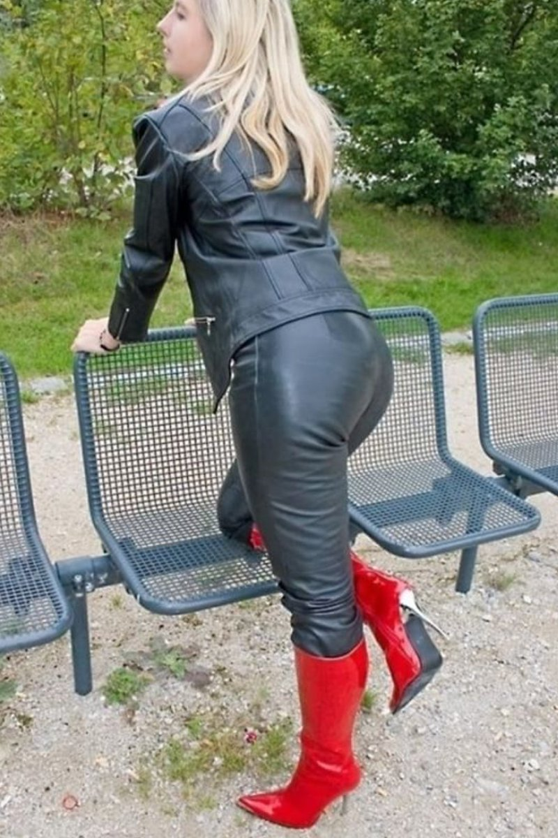 Mature leather pants