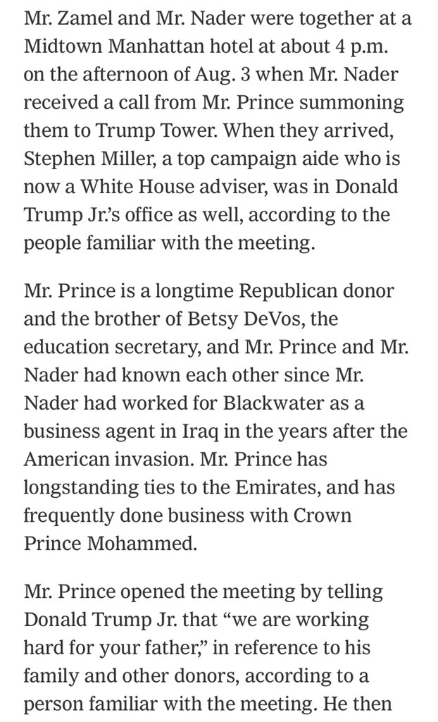 Erik Prince has a LOT of explaining to do to the House Intelligence Committee.  Left: Prince's sworn Nov. 30 testimony sharply downplaying his connection to the Trump campaign.  Right: Prince facilitating high level meetings for the campaign with foreign officials, per NYT
