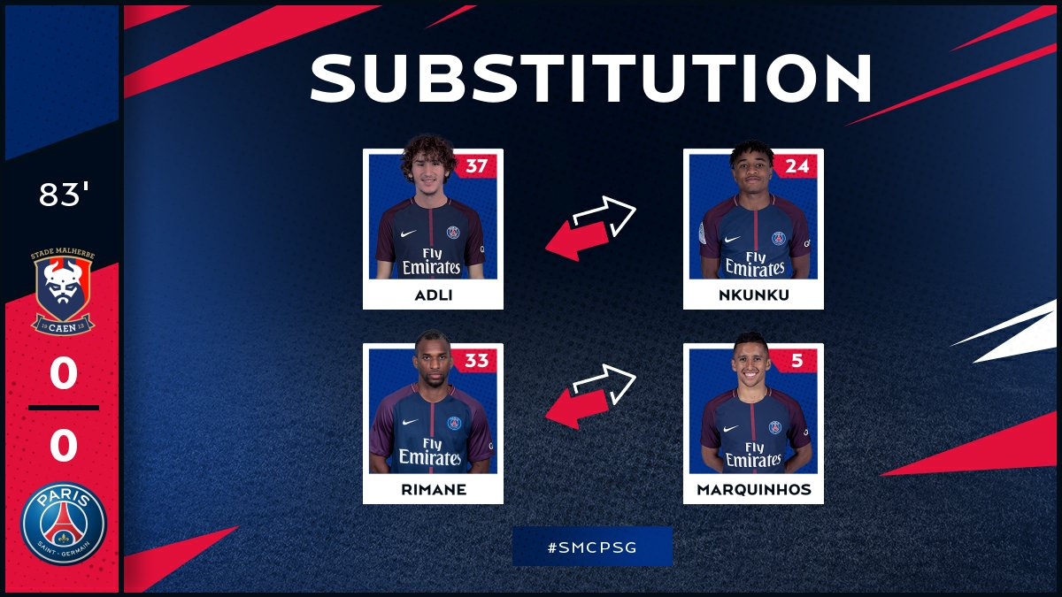 83 Two PSG youngsters come in: Adli and Rimane replace @c_nk97 and @marquinhos_m5 #SMCPSG