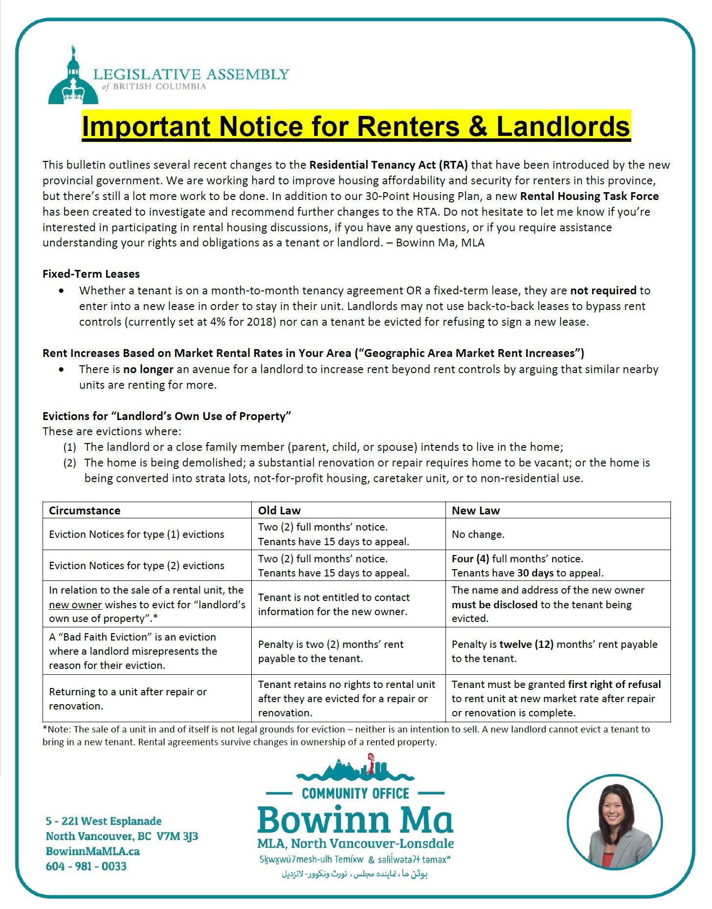Bowinn Ma On Twitter Important Info For Renters Landlords