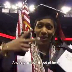 #GraduationFlow: @_AjaWilson22 is outta here! ✌️  Tag along with the @LVAces No. 1 pick on her graduation day... before she makes her pro debut Sunday at 1 pm/et on Twitter to open #WNBAAllDay!