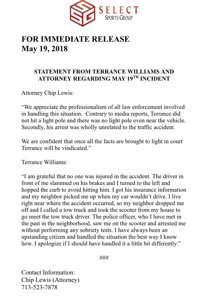 "#Cowboys WR Terrance Williams released a statement on his recent arrest detailing several facets of the incident: ""I have always been an upstanding citizen and handled the situation the best way I know how."""