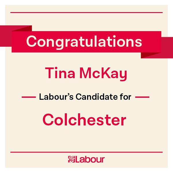 Congratulations Tina McKay, Labour's candidate for Colchester! https://t.co/0kVQwi1DqJ