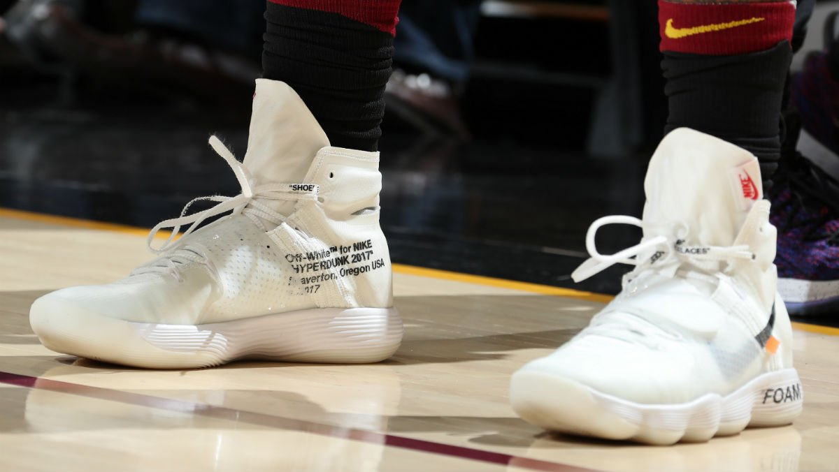 57be72e45a77  SoleWatch   TheRealJRSmith rocking Off-White x Nike Hyperdunks in Game  3.pic.twitter.com 7MnBi8bnhI