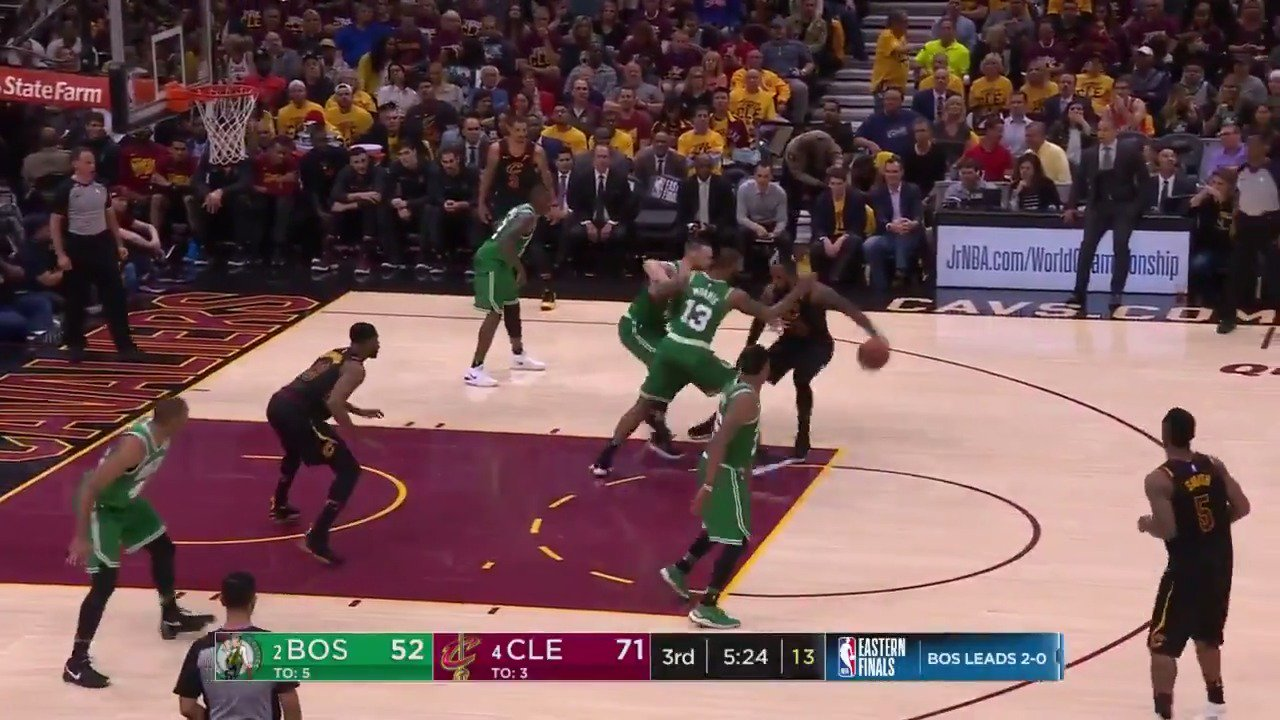 KING VISION! ����  LeBron is up to 21 PTS, 9 AST on @ESPNNBA   #WhateverItTakes https://t.co/dkRtajTBvS