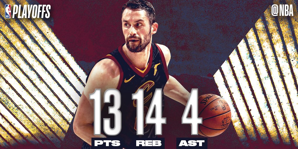 Kevin Love recorded a double-double of 13 PTS, 14 REB, along with 4 AST, to help the @cavs earn the Game 3 win at home! #SAPStatLineOfTheNight