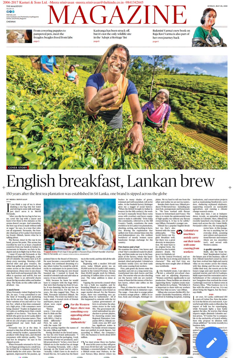 A tale of tea: how @Dilmah, one of Sri Lanka&#39;s best known global brands, came to be. In @the_hindu Magazine today     https:// goo.gl/EzHgip  &nbsp;   #Srilanka #tea <br>http://pic.twitter.com/UoAe69S1rR