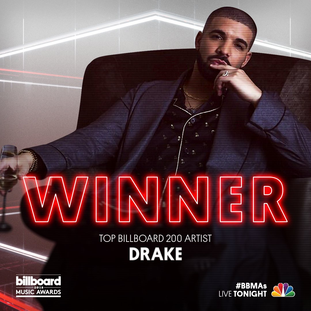 //NON-TELEVISED [#BBMAs] AWARD WINNER UNLOCKED_    _User: @Drake wins the #BBMAs for Top Billboard 200 Artist!