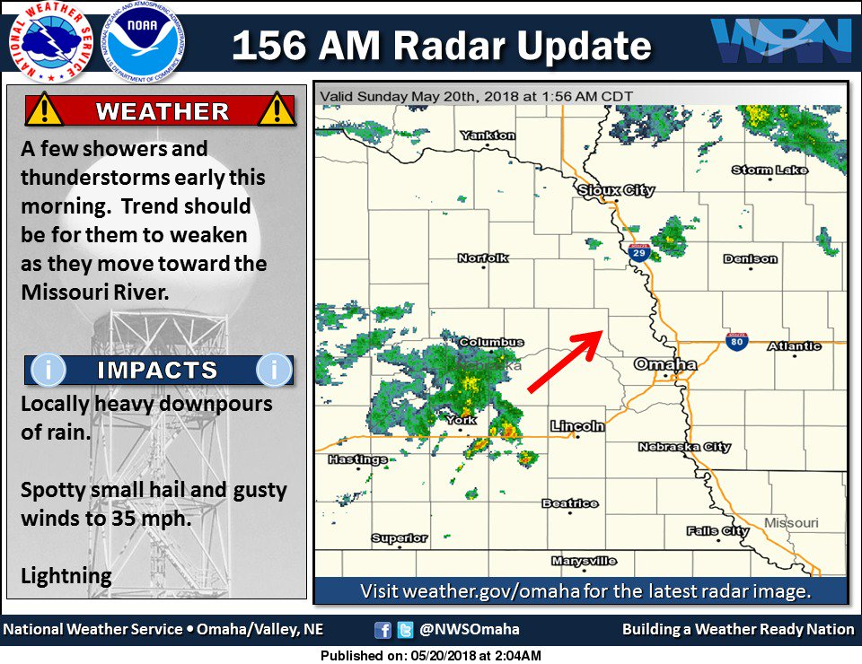 156 AM radar: Showers/storms lifting east northeast across the area this morning. #newx #iawx