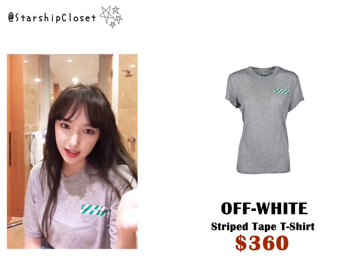 CHENG XIAO ( WJSN Cosmic) Wearing OFF-WHITE - Striped Tape T-Shirt 202bd8f86