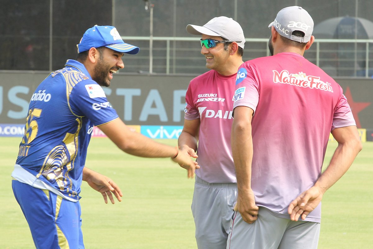 Rohit looking pretty relaxed before the start of play today. Image Credit: