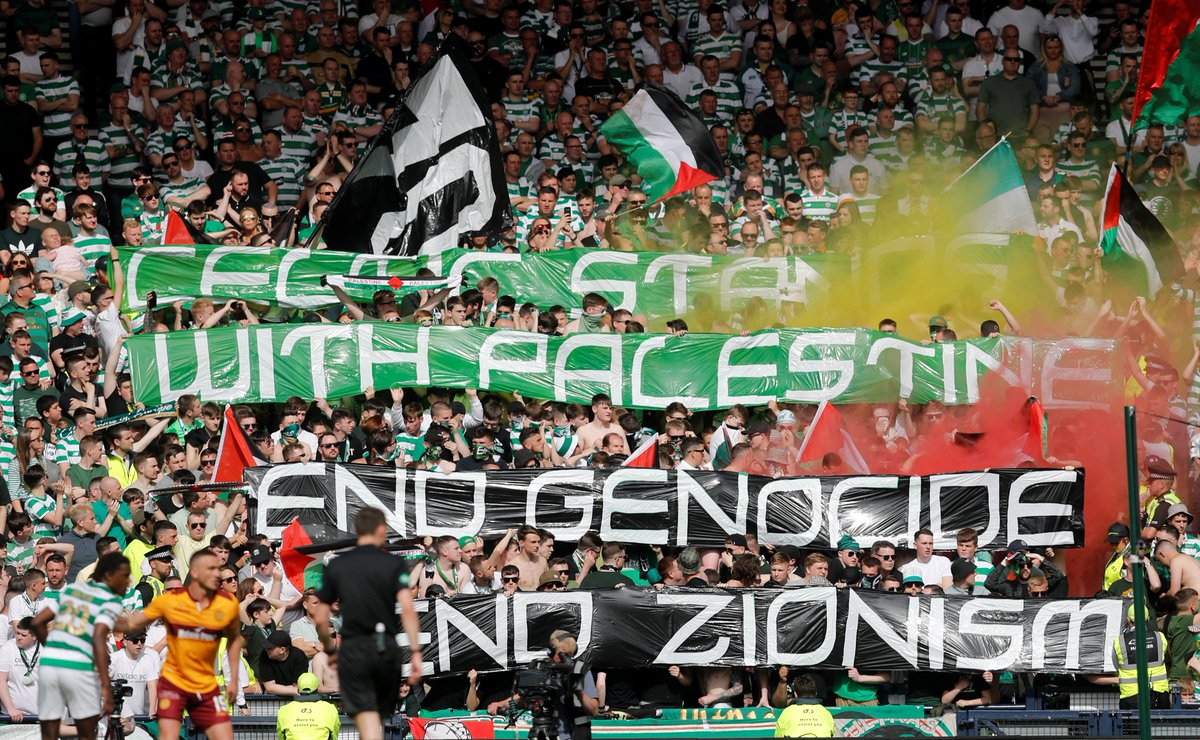 Soccer fans at a Celtic match in Scotland waved Palestinian flags to protest against Israeli attacks in Gaza.