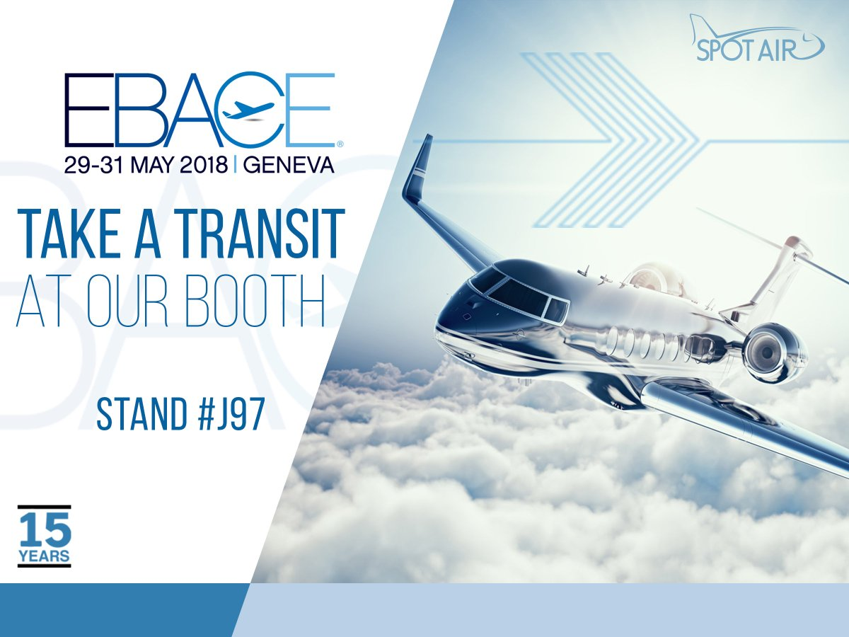 Meet #SpotAir team @ #EBACE2018, one of the most important #bizav events of the year! Come visit us at Hall 5, Booth # J97 from May 29-31.   #businessaviation #bizav #bizjets #charterjets #privatejets #SG15<br>http://pic.twitter.com/tkI0CruD2J