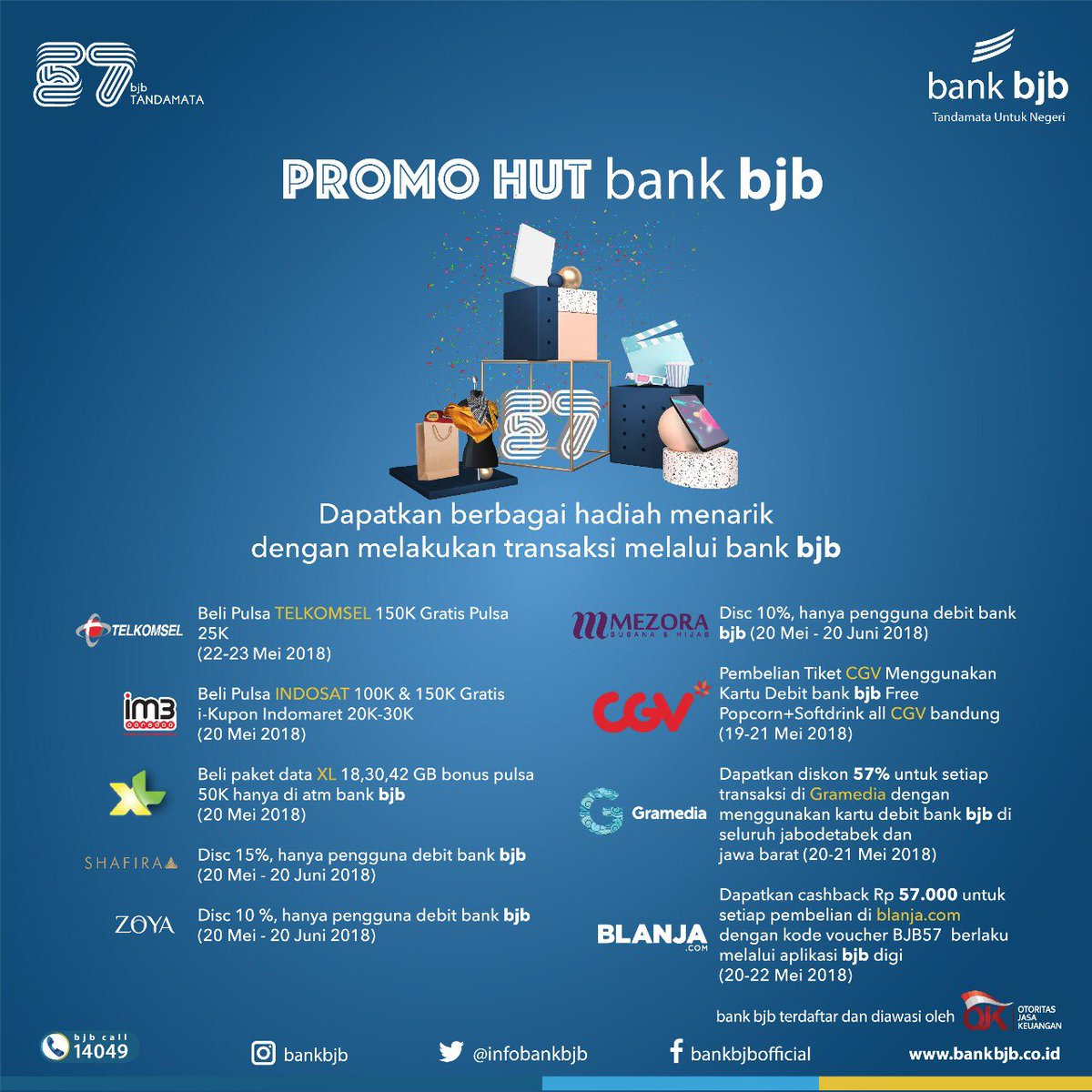 Bank Bjb u062fu0631 u062au0648u06ccu06ccu062au0631 Dlm Rangka Hut Bank Bjb Ke 57 Nikmati Beragam Penawaran Menarik Di Merchant Merchant Pilihan Selalu Lakukan Transaksi Menggunakan Bank Bjb Dptkan Beragam Keuntungan Bank Bjb Membangun Indonesia Memahami Negeri Bankbjb