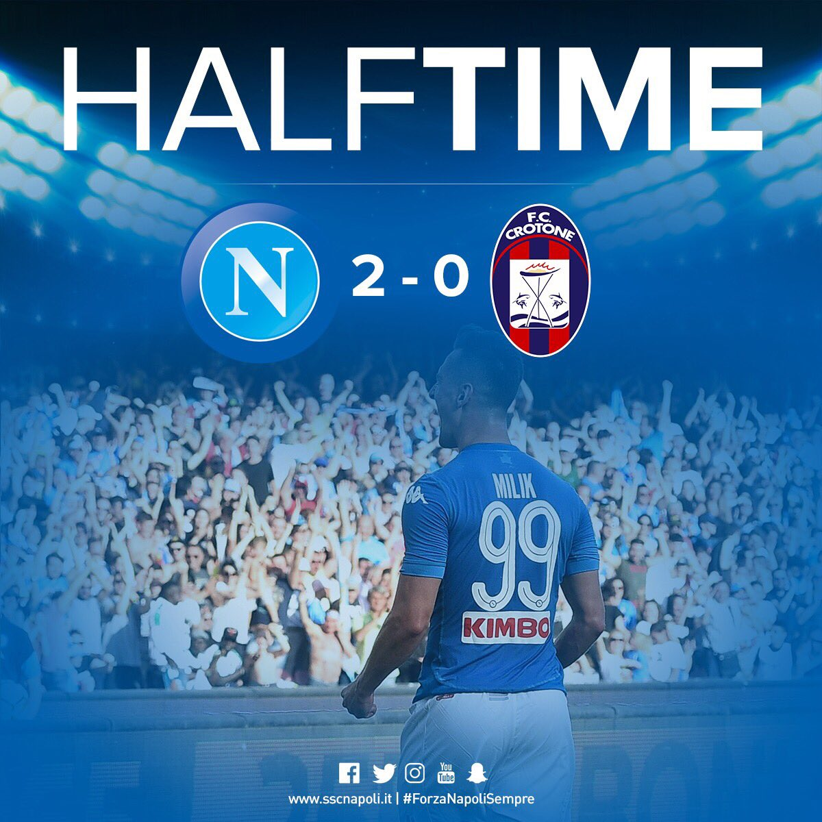 ⏱ HALF TIME  ⚽️ #NapoliCrotone 2-0 🇮🇹 #SerieA 💙 #ForzaNapoliSempre