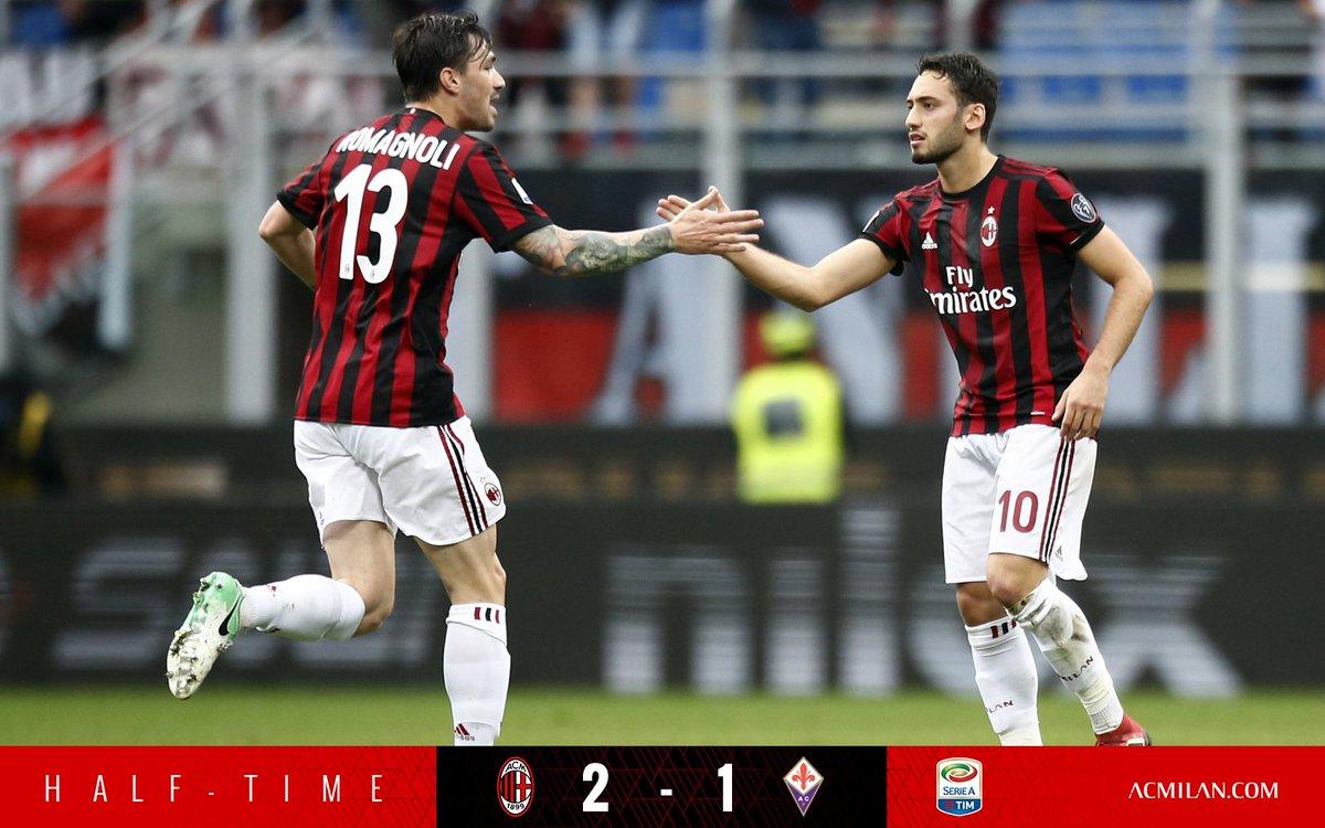 Half-time / Fine primo tempo Great reaction, boys! 👏🏻🔴⚫️ Grande reazione, ragazzi! 👏🏻🔴⚫️ #MilanFiorentina 2-1