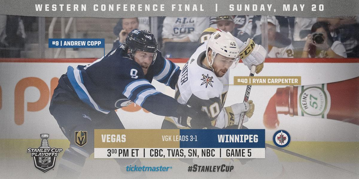 One win away from the #StanleyCup Final. We repeat, the @VegasHockeyNHL are only one win away.  Presented by@Ticketmaster :https://t.co/C3JXlqaX6p