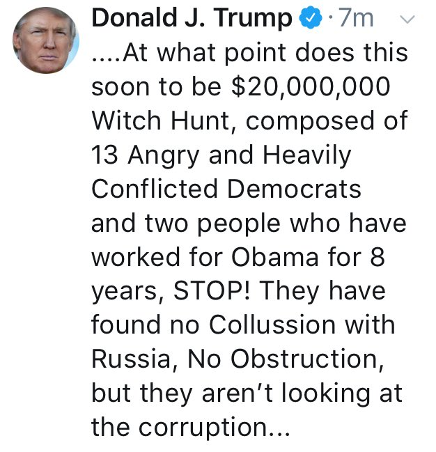 """$20M to investigate the subversion of American democracy is still only pennies on the dollar compared to what @realDonaldTrump has wasted on his golf boondoggles ... and the """"witch hunt"""" has found a lot of witches. <br>http://pic.twitter.com/Vr1cdLun70"""
