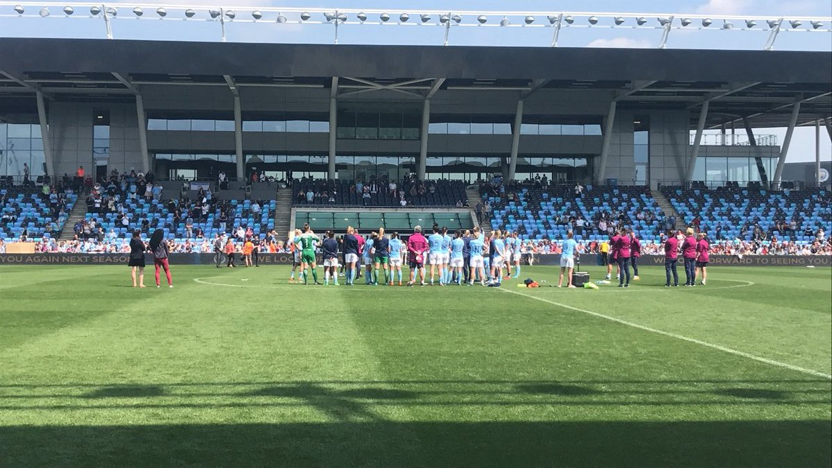 City manager Nick Cushing and players addressing the fans post match