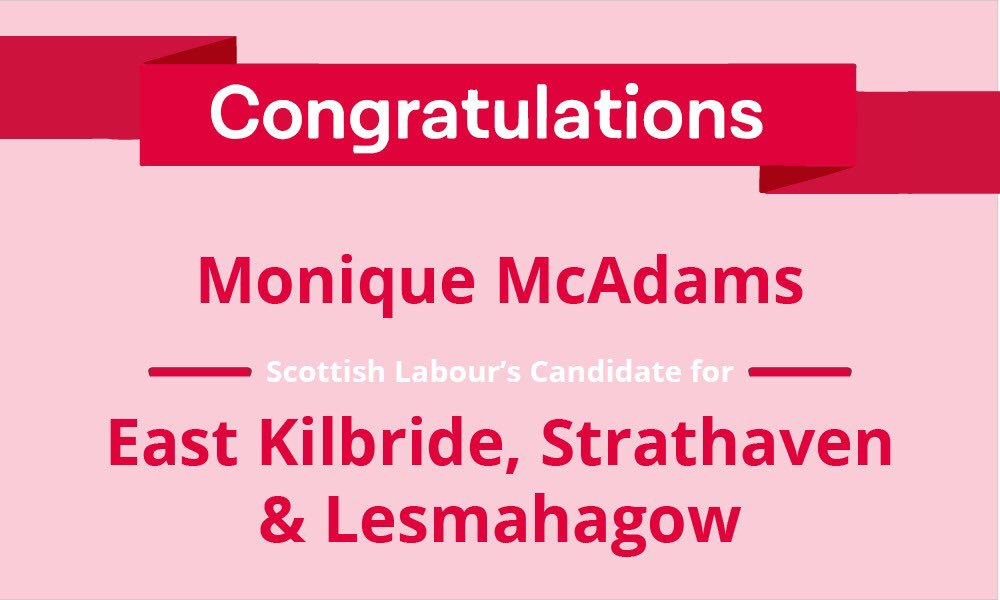 Congratulations to @GeMcAdams, our candidate for East Kilbride,Strathaven and Lesmahagow. #RealChange #ForTheMany �� https://t.co/xl3kCE1bRo