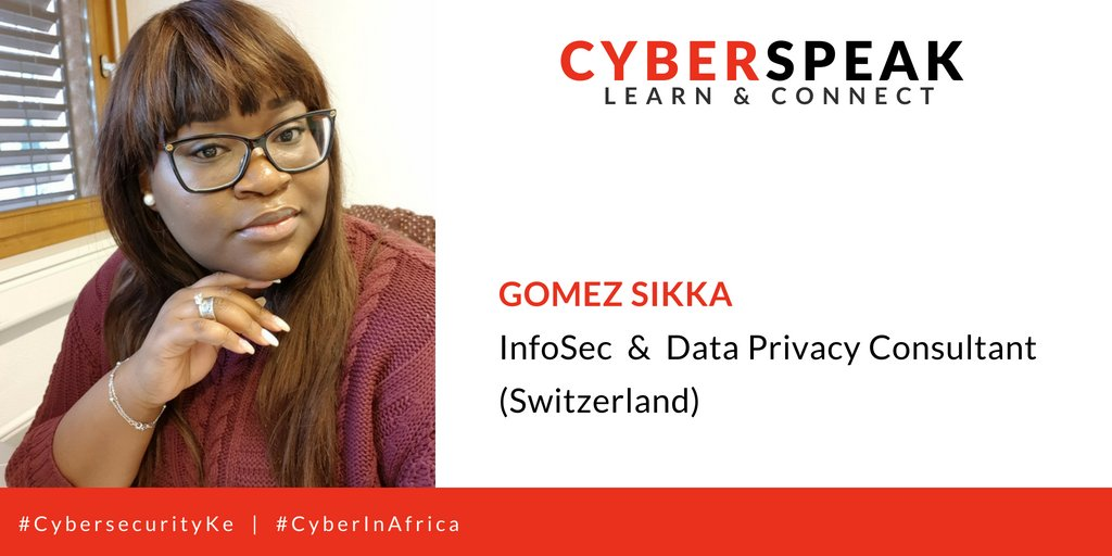 GUEST 002: Sikka Gomez -- InfoSec and Data privacy consultant  Profile: @GomezSikka &amp;  LinkedIn:  https://www. linkedin.com/in/sikka-jessi ca-gomez-6587a543/ &nbsp; …    Stay tuned via: #CyberInAfrica  #CybersecurityKe @kcsfa @Myk_Felix @RehemaAdv @Borderless_i @4infosec<br>http://pic.twitter.com/jh6rVH2KtZ