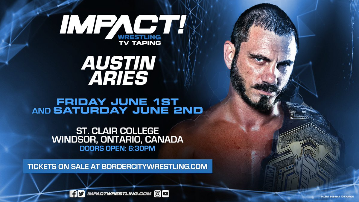 Join us June 1st and 2nd in Windsor, ON for our next set of IMPACT tapings on the final stop before #SlamXVI!   Visit BorderCityWrestling.com for tickets! VIP packages are still available at @shopimpactdeals! #IMPACTonPop