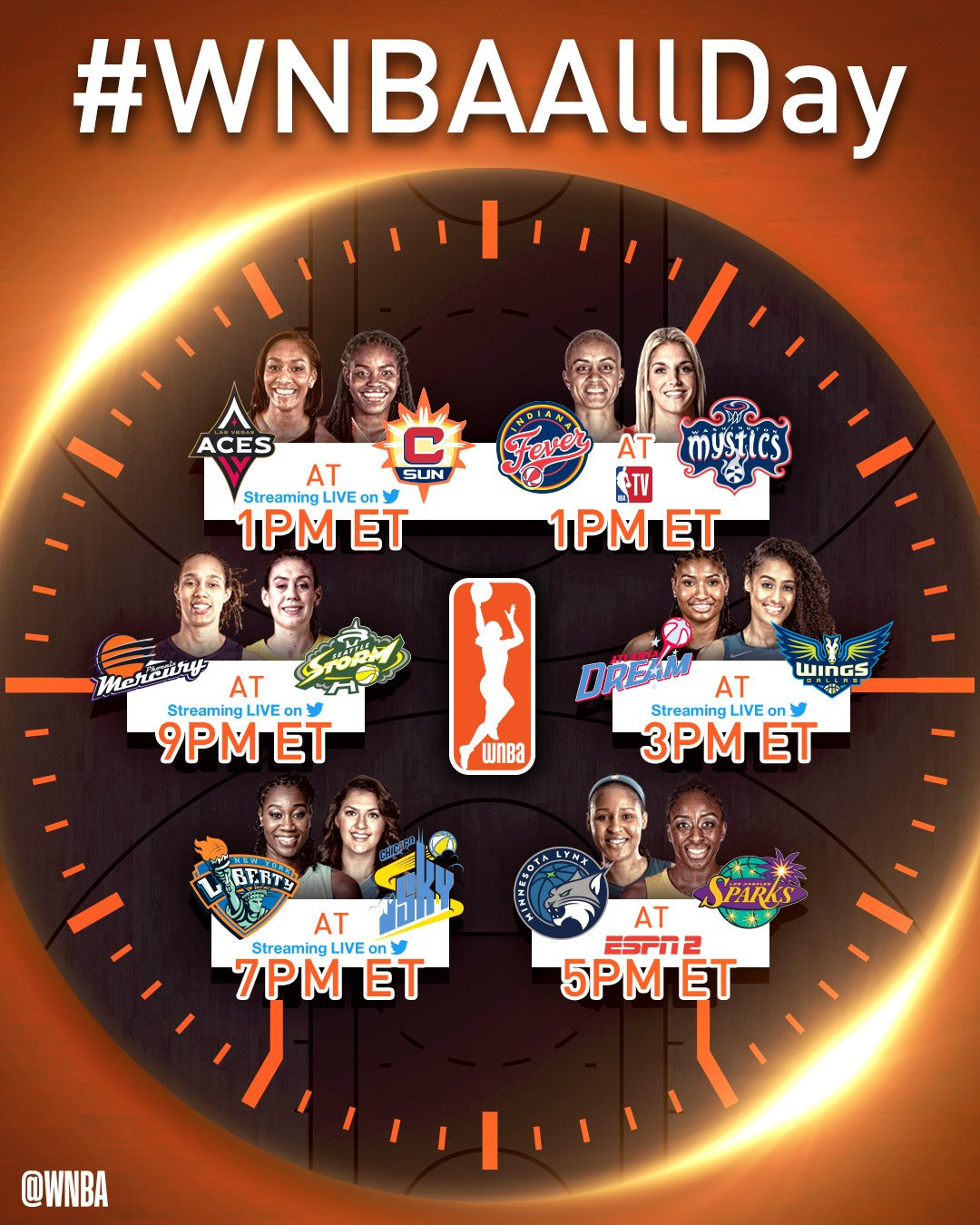 #WNBAAllDay action tips off right here on Twitter at 1pm/et! https://t.co/e26oyNb6b9