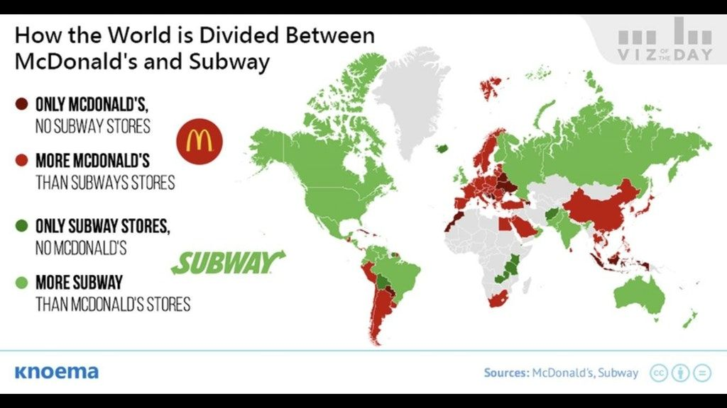 Simon Kuestenmacher On Twitter The Subway Vs Mcdonald S Map Shows